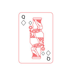 queen of diamonds or tiles french playing cards vector image