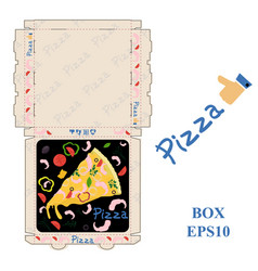 ready to print pizza food packaging box layout vector image
