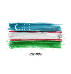 realistic watercolor painting flag of uzbekistan vector image