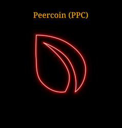 Red neon peercoin ppc cryptocurrency symbol vector