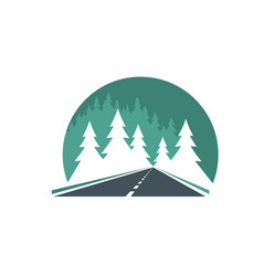 Road icon highway in green forest way or route vector