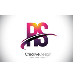 Rs r s purple letter logo with swoosh design vector
