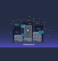 server data center flat internet vector image