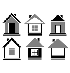 set cottage icons vector image
