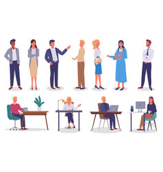 set different links office staff bosses vector image
