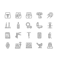 Set gynecology line icons thermometer vector