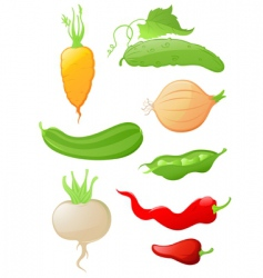 set of glossy vegetable icons vector image
