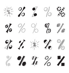 set of hand drawn percent signs vector image