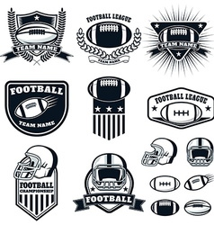 set of the american football labels emblems vector image
