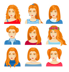 Set woman faces with various hairstyle vector
