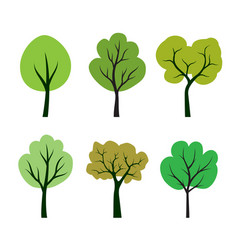 Shape tree icon with green leaves outline vector