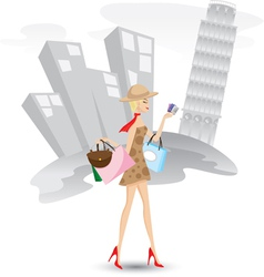 shopping italy vector image