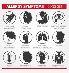 Signs and symptoms allergies icons vector