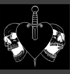 Skulls heart with knife in black background vector