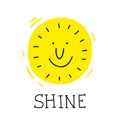 Smile sun poster in simple doodle style vector