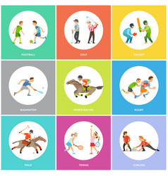 sports icons sporty man and woman skills vector image