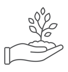 sprout in hand thin line icon farming vector image