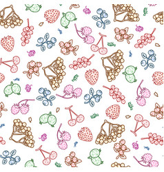stylized berries seamless pattern on white vector image