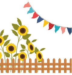 Sunflowers with near isolated icon vector