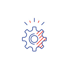 Technical smart solution cogwheel line icon vector