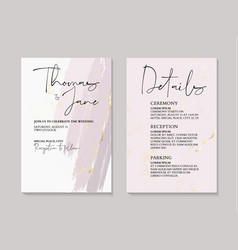 Tender rose ink gold foil wedding cards with vector