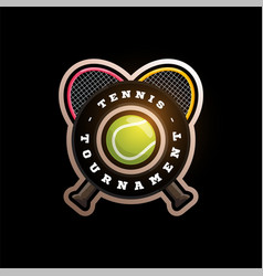 tennis circular logo with cross racket modern vector image