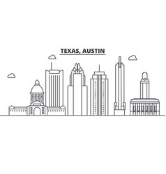 Texas austin architecture line skyline vector