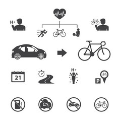 the benefits of the cyclist bicycle icons set vector image