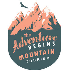 travel banner with mountains and flying eagle vector image