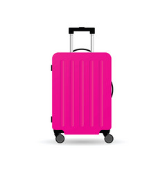 Travel suitcase in pink color with wheels vector