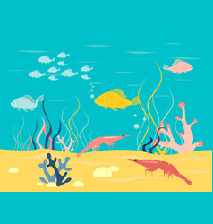 underwater world in minimalist style cartoon vector image