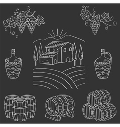 Vineyard farm village landscape vector