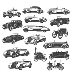 vintage car and auto icons retro muscle vehicle vector image
