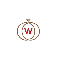 w letter ring diamond logo vector image
