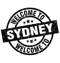 Welcome to sydney black stamp vector