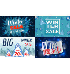 winter sale banner set cartoon style vector image