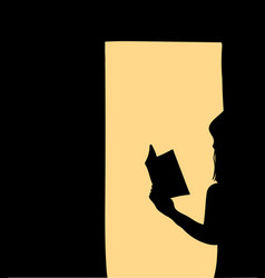 women standing reading books in the shadows vector image