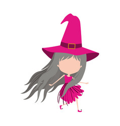cute witch flying without face colorful silhouette vector image