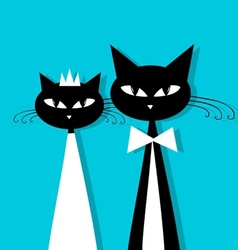 Groom and bride cats wedding for your design vector image vector image