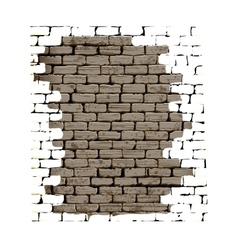 Old brick wall with plaster white background vector image