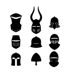 set of black icons of knightly helmets vector image