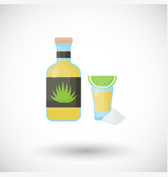tequila bottle and shot icon vector image