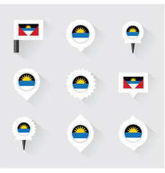 antigua and barbuda flag and pins for infographic vector image vector image