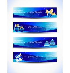 Christmas blue color headers vector