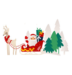 flat santa claus with reindeer sleigh vector image vector image