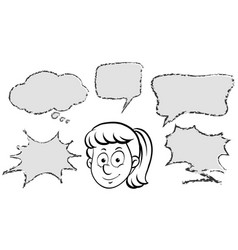 girl with different speech bubble templates vector image vector image