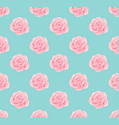 pink rose seamless on blue mint background vector image vector image