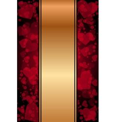 red and gold background with hearts vector image vector image