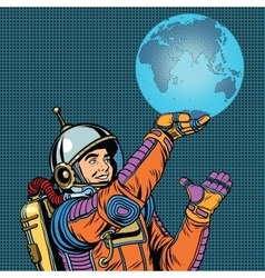 Retro astronaut is holding the planet earth on vector