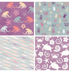 Sea life patterns collection 5 vector image vector image